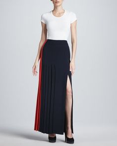 Colorblock+Pleated+Crepe+Skirt,+Poppy/Navy+by+J.+Mendel+at+Neiman+Marcus.