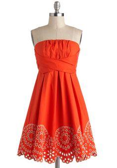 Orange Rush Dress by Ryu - Orange, Tan / Cream, Solid, Eyelet Rush Dresses, Casual Dresses, Summer Dresses, Summer Outfits, Mod Dress, Dress Skirt, Pretty Outfits, Cute Outfits, Coral Outfits