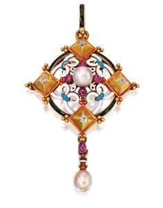RENAISSANCE-REVIVAL GOLD AND ENAMEL GEM-SET PENDANT, CARLO GIULIANO, CIRCA 1869.  The lozenge-shaped pendant quartered by diamond-set gold pyramids interspersed with gold openwork fleur-de-lys motifs, applied with white, black and blue enamel, further accented by four cabochon rubies, centering upon a single pearl and supporting a fringe set with one drop-shaped pearl and one cabochon ruby, signed with the monogram of two P's for Phillips Bros.