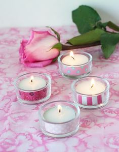 DIY: Washi Tape Tea Lights #candles #gift #favor