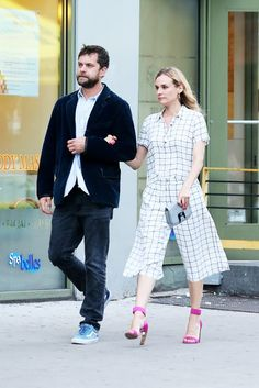 Diane Kruger in a matching graphic set from Forever 21, paired with fuchsia Nicholas Kirkwood heels