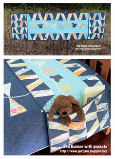 CHILDREN'S BED RUNNER:  (I'd make it a Rag Quilt Bed Runner and add pockets across the bottom as well as the two on the sides.)