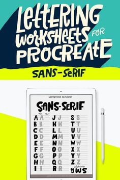 Download these lettering worksheets for procreate and practice your handwriting until its perfect with ease. Sans-serif font lettering worksheets #ad #lettering #letteringpractice #handwriting Finished Quotes, Letter Practice Sheets, Different Lettering Styles, Brush Lettering Worksheet, Handwritten Fonts, Sans Serif Fonts, Affinity Designer, Lettering Tutorial, Ipad Art