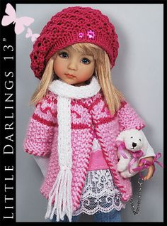 "WHITE & PINK + PUPPY Outfit for Little Darlings Effner 13"" by Maggie & Kate"