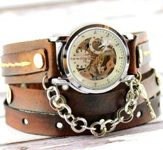 Vintage Brown Steampunk Wrap Watch for Women