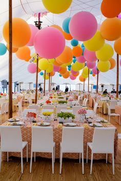 Colorful Hanging Balloons in Zephyr Tent - Lighting Design by Got Light in 2020 Grad Parties, Birthday Parties, Party Tent Decorations, Party Bunting, Hanging Balloons, Hanging Lanterns, Balloons Galore, Rainbow Wedding, Fiesta Party