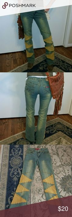 """GF INC USA Jeans Adorable BOHO style jeans with corduroy patches. Boot cut with 32"""" inseam. GF INC USA Jeans Boot Cut"""
