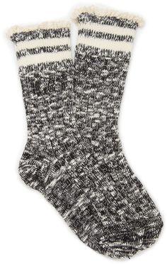 FOREVER 21 Heathered Crochet-Trim Socks