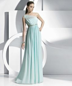 Enchanting Draped A-line One-shoulder Floor-length Chiffon Evening/Prom Dress Ed0113