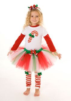 This listing is for one pair of Treasured Treat leg warmers.  ***This item is ready to ship.  ***Tutu skirt is sold separately. ***Headband sold separately. ***Candy Cane T-Shirt sold separately. ***Red Shirt not included.  --------------------- ITEM DETAILS --------------------- Green satin bows are attached to candy cane striped leg warmers.  One size fits most.  Approximate Fit: Newborn to age 4- fits to the top of the thigh Age 4 to 8- fits above the knee Age 10- small adults- fits just…