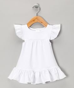 Look at this Luca Charles White Angel-Sleeve Dress - Infant by Luca Charles Cute Outfits For Kids, Toddler Outfits, Girly Outfits, Baby Girl Fashion, Kids Fashion, Little Girl Dresses, Girls Dresses, Cute White Dress, Angel Sleeve