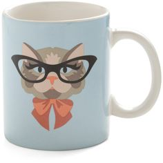 Cat Eyeglasses Mug (46 BRL) ❤ liked on Polyvore featuring home, kitchen & dining, drinkware, random, cat, fillers, mug, modcloth, kitty mug and dishwasher safe mugs