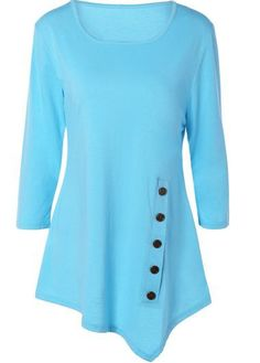 Cyan Long Sleeve  Asymmetrical Hem Swing Tunic Top