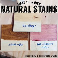 How to Make Your Own Natural Wood Stains from food items and ingredients you probably have in your kitchen. Tutorial and Stain Recipes from East Coast Creative Blog.