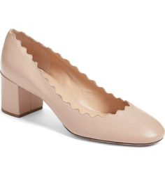 a3ff0a97d9ca Chloé Nude Pink Tea Cream Lauren Scalloped Leather 50mm Heel Pumps Size US  8 Regular (M
