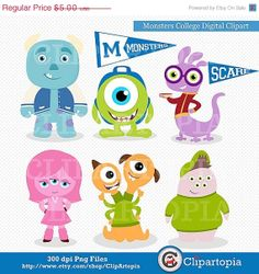 50 OFF SALE Monsters College Digital Clipart / by ClipArtopia, $2.50