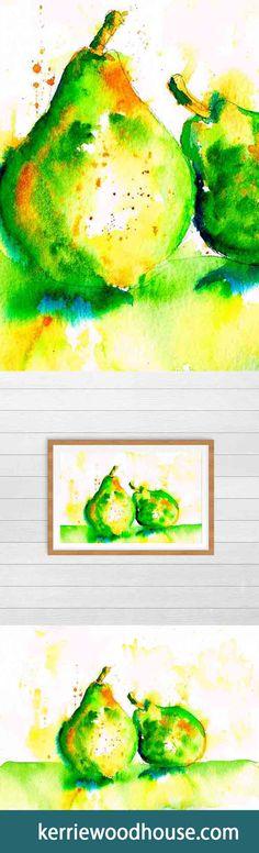 whimsical art print | kitchen art | green print | pears | pear art | fruit print