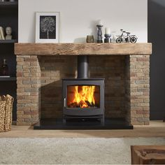 Buy Dik Geurts Ivar 8 Wood Burning Stove – Stoves Are Us - Wood Burning Fireplace Inserts Wood Stove Surround, Wood Stove Hearth, Wood Burner Fireplace, Wood Burning Fireplace Inserts, Inglenook Fireplace, Fireplace Hearth, Fireplace Design, Fireplace Ideas, Gas Wood Burner
