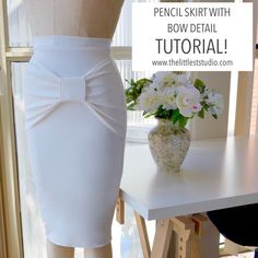 Elegant Pencil Skirt with Bow Detail: Tutorial! - The Littlest Studio