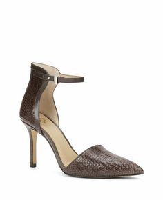 """Sleek and sophisticated, this rich leather pair captivates with a take-notice ankle strap, luxe textures and unbelievably haute hues. Pointy toe. Ankle strap with adjustable notch closure. Padded footbed for complete comfort. Covered 3 1/2"""" heel."""