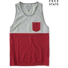 Aeropostale Free State Colorblock Pocket Tank (510 RUB) ❤ liked on Polyvore featuring men's fashion, men's clothing, men's shirts, men's tank tops, men, red rock, mens red shirt, mens red tank top, mens tank tops and mens color block shirt