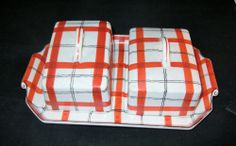 Hand Painted TT Orange Plaid Cheese Bread Tray Server Made in Japan Takito Co | eBay