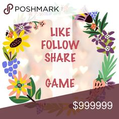 🌻🌻LIKE, FOLLOW AND SHARE GAME🌻🌻 LIKE, FOLLOW AND SHARE GAME. Like this listing, following everyone who has liked this status and share this posting. Come back daily to like new followers! Other