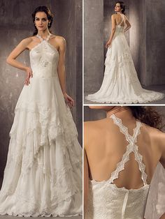 Sheath/Column Plus Sizes Wedding Dress - Ivory Court Train Halter Chiffon/Lace - USD $179.99