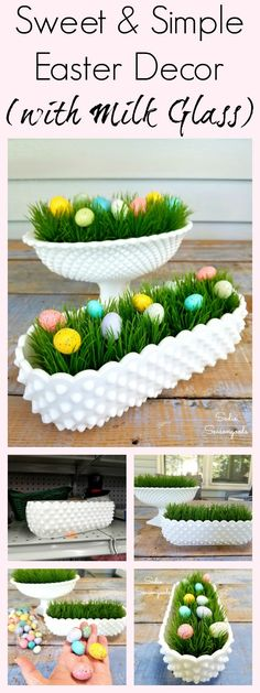 Need a quick and simple DIY Easter decor craft project? This is a fun idea for repurposing and upcycling vintage hobnail milk glass- and a great reason to bring your pieces out of the cupboard! Plus, it only takes a few minutes to create. Love this simple DIY Spring project from Sadie Seasongoods / www.sadieseasongoods.com