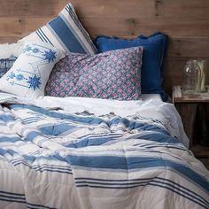Lazybones Vintage Style Bedding   Deckchair Marine Quilt   Shabby Chic Bedding