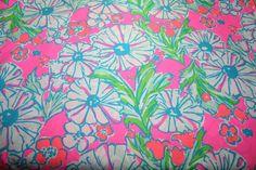 "Lilly Pulitzer fabric  ""Cosmo Pink SPLISH SPLASH"" ,100%  cotton,  18"" by 18"" on Etsy, $11.99"