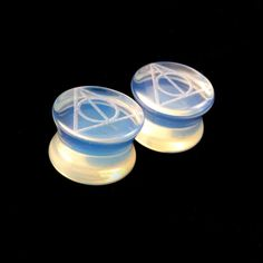 "Deathly Hallows Glass Plugs -Pick Color and Size- 2g (6mm) 0g (8mm) 00g (9mm) (10mm) 7/16"" (11mm) 1/2""(13mm) 9/16"" 14mm 5/8"" 16mm Ear Gauges on Etsy, $17.50"