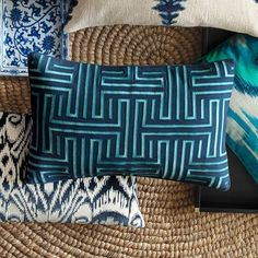 Colonial Greek Key Pillow Cover, Navy | Williams-Sonoma