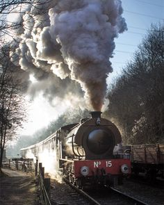 The 0-6-0 Austerity Tank Engine 'Earl David' leaving Bitton Station at Avon Valley Railway on a cold frosty morning in December 2014