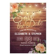 Rustic Wood Floral String Lights Save The Date Card Wedding Invitation Card Template, Save The Date Invitations, Elegant Wedding Invitations, Save The Date Cards, Fairy Lights Wedding, Light Wedding, Rustic Wedding, Gold Wedding, Wedding Gifts