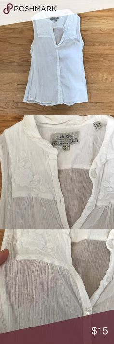 Jack Wills white cotton sleeveless top with details Like new Jack Wills sleeveless cotton button up with delicate detailing around shoulder/chest area (pictured). Great condition and no tears, stains etc. Fabric is light weight and could wear tank underneath or bra (sheerness pictured). Size 6 Jack Wills Tops Blouses
