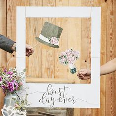 Create lasting memories with our Giant Polaroid Sign. Family and friends will love taking cool photos with our giant polaroid sign - fun for everyone! The rustic scripted best day ever grey text will look beautiful framing your guests fun pictures! A prop for everlasting wedding day