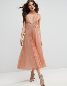 ASOS nude Deep Plunge Cami Mesh Pleated Midi Dress