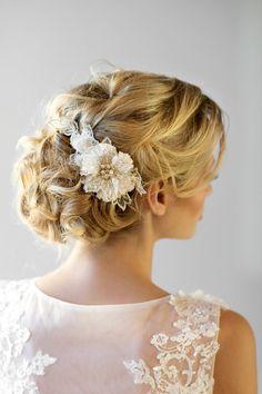 Bridal Flower Haircomb Wedding Head Piece by PowderBlueBijoux