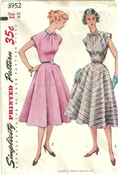 Vintage 50s Sewing Pattern Simplicity 3952 by studioGpatterns