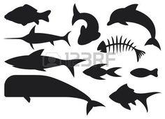 vis icons set dolfijn vis bot karper vissen haaien walvissen zwaardvis gestileerde vissen Stockfoto