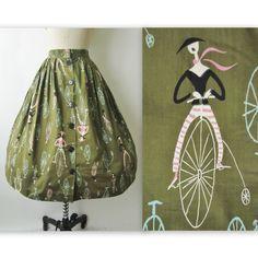 50's Novelty Print Skirt //  Vintage 1950's French Cyclist Print Novelty Cotton Mid Century Full Garden Party Skirt XS. $38.00, via Etsy.