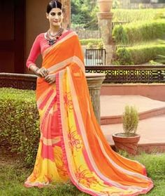 Buy Orange Georgette Printed Saree With Blouse 76446 with blouse online at lowest price from vast collection of sarees at Indianclothstore.com.