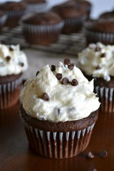 Chocolate Cupcakes with Chocolate Chip Frosting. These are the best chocolate cupcakes! They're so good!
