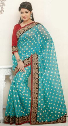 Scintillating Cyan Blue Embroidered #Saree