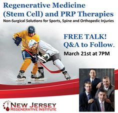 Learn about Regenerative Medicine (Stem Cell) and PRP Therapies at the Advanced Medical Center at Cedar Knolls.  March 21st at 7PM. Q&A to Follow. Make an appointment there for a consultation and get $100 off (FOR SELF-PAY PATIENTS ONLY).  Penthouse Floor, 197 Ridgedale Ave, Cedar Knolls, NJ 07927