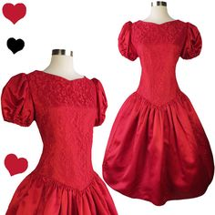 Vintage 80s Dress // Red Puff Sleeve Lace Full by pinupdresses