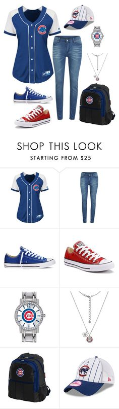 """""""Go Cubs Go!"""" by scottcc ❤ liked on Polyvore featuring Majestic, Cheap Monday, Converse, Game Time and New Era"""