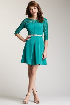 3/4 Length Sleeve Lace Detail Dress on HauteLook - Jessica SImpson dresses sale