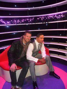 Henk-Jan en Will Smith in Madame Tussauds Amsterdam